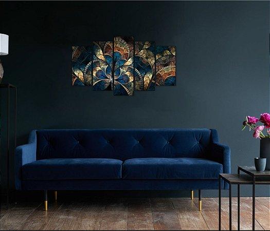 Quadro 5 Peças Quadro Art Mosaic Abstract Psychedelic Mandala