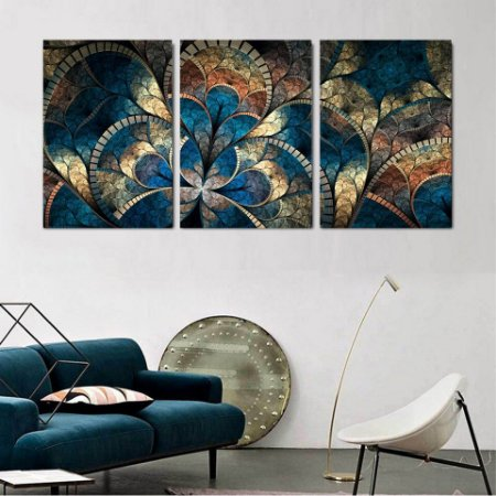 Quadro 3 Peças Art Mosaic Abstract Psychedelic Mandala