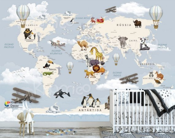Papel de parede Mapa Mundi Animais Safari