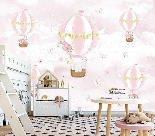 Papel de parede Chuva de balões Rosa Borboletas