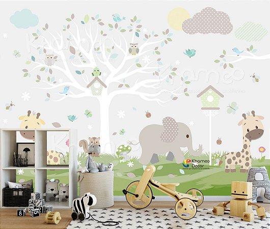 Papel de parede Arvore e Animais safari