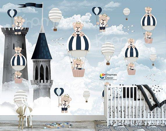Papel de Parede Ursinho Príncipe Castelo Balões