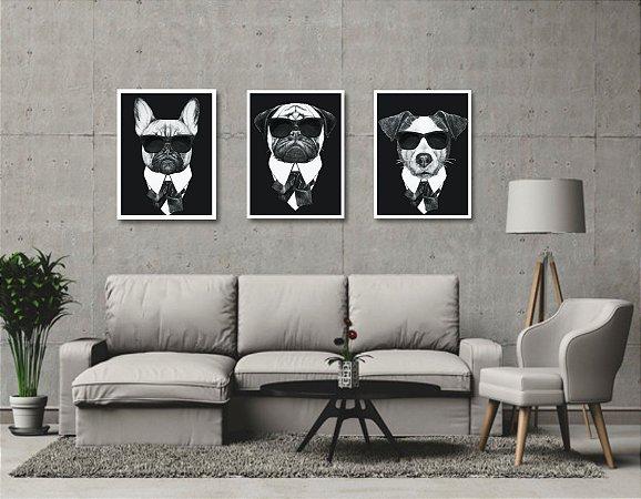 Kit 3 Quadros Cachorro Estilo Mafia Cães De Preto Bulldogue