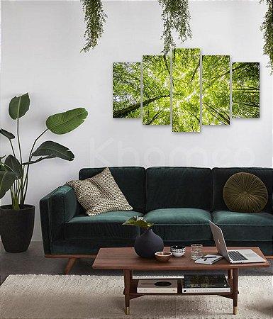 Quadro 5 Peças Floresta Árvores Galhos Brilhante