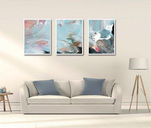 Kit 3 Quadros Mosaico Abstrato Moderno Cores Sonhos