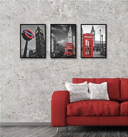 Kit 3 Quadros Londres Cabine Ônibus Big Ben