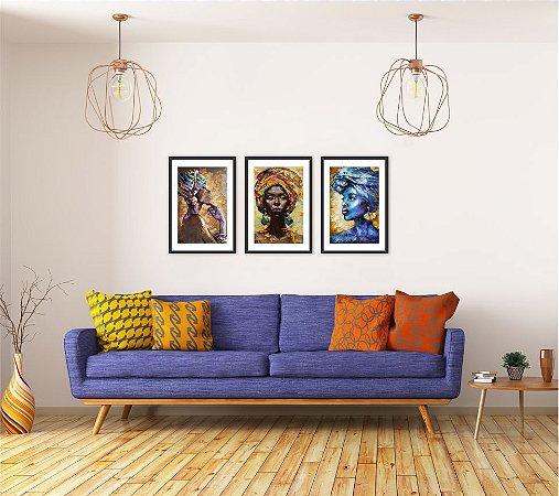 Kit 3 Quadros Africana Estilo Pintura Colors Cores