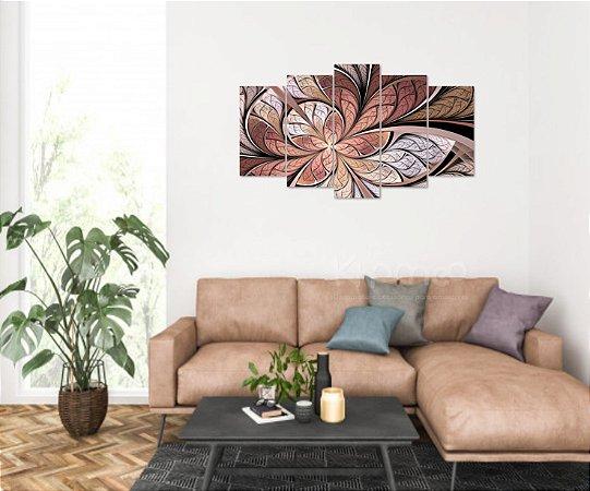Quadro 5 Peças Abstrato Vitral Rosê Mosaico Bege