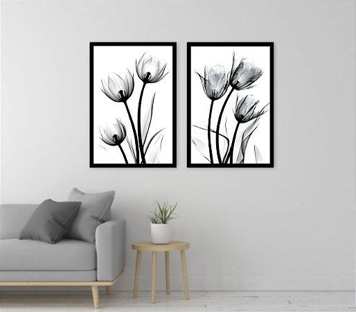 Kit 2 Quadros Flores Preto e Branco 03