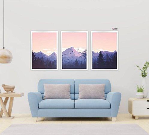 Kit 3 Quadros Natureza Montanhas 01