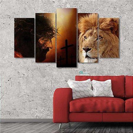 Quadro 5 Peças Sala Decorativo Leão Judá Jesus Cristo Religioso 02