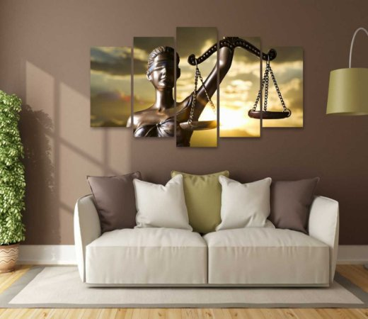 Quadro 5 Peças Escritório Direito Advocacia Deusa Balança