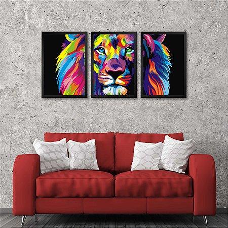Kit 3 Quadros Decorativos Leão Colorido