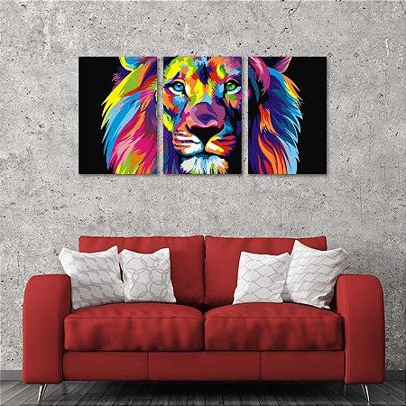 Kit 3 Placas Decorativos Leão Colorido