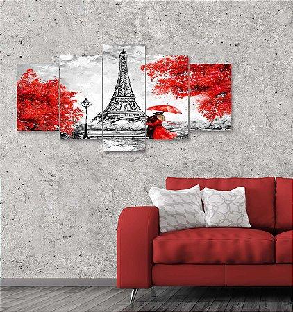 Quadro 5 Peças Paris Estilo Pintura Torre Eiffel