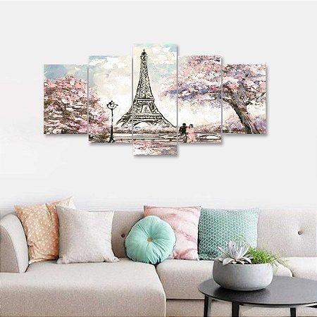 Quadro 5 Peças Paris Estilo Pintura Torre Eiffel 02