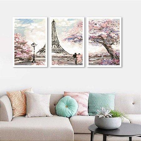 Kit 3 Quadros Paris Estilo Pintura Torre Eiffel 02