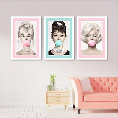 Kit 3 Quadros Marilyn Monroe Audrey Hepburn Brigitte Bardot Borda Colorida