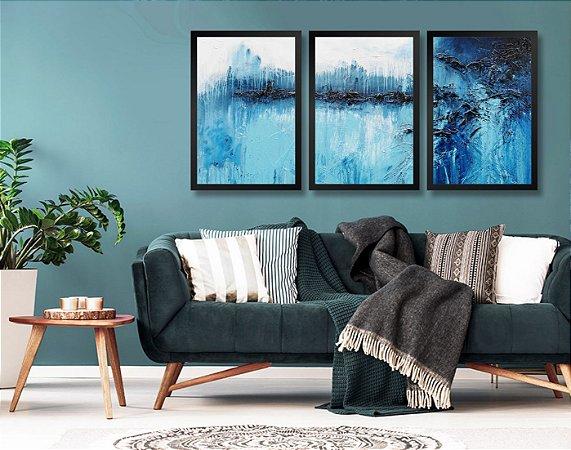 Kit 3 Quadros Aspecto Pintura Tons de Azul e Branco