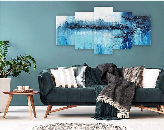 Quadro 5 Peças Aspecto Pintura Tons de Azul e Branco