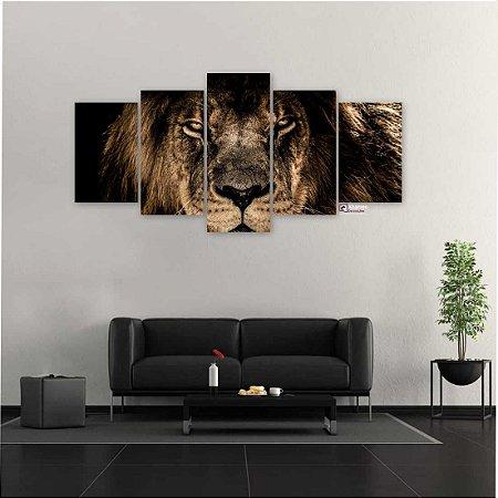 Quadro 5 Peças Sala Decorativo Leão