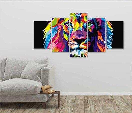 Quadro 5 Peças Leão Colorido 100x60 cm