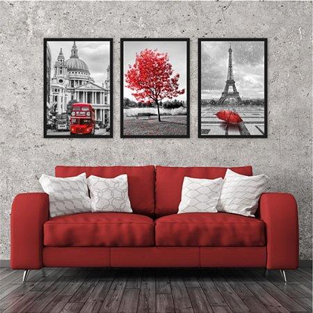 Kit 3 Quadros Árvore Vermelha Paris Torre Eiffel Londres