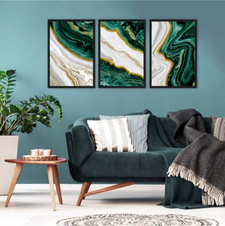 Kit 3 Marble Gold verde Frame Green Ouro