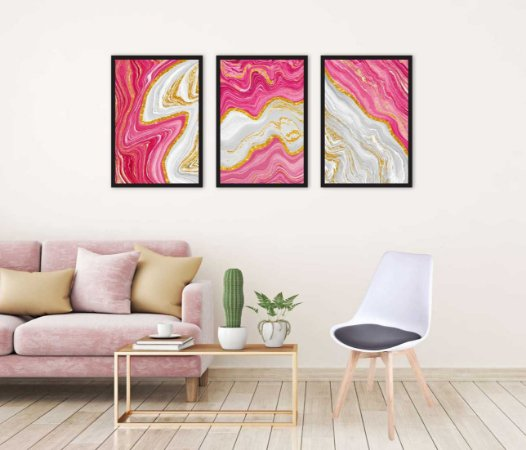Kit 3 Quadros Cristal Abstract Frame Rosa Ouro Mármore