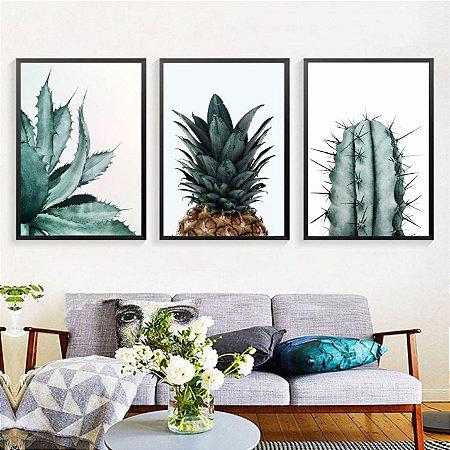 Quadro Folhagem Plantas Green Abacaxi