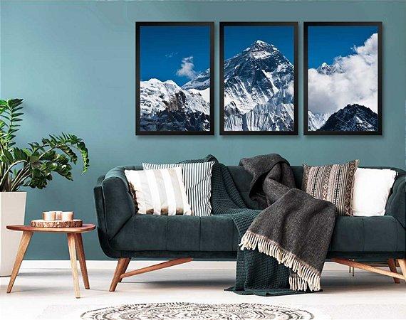 Kit 3 Quadros Monte Everest Pontos Turísticos