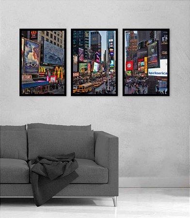 Kit 3 Quadros Times Square Nova York Usa Estrada