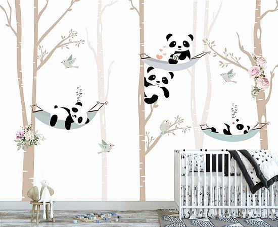 Papel De Parede Infantil Panda Coqueiro