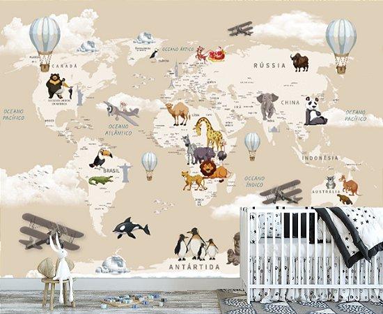 Papel De Parede Infantil Mapa Mundi Safari Areia