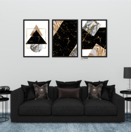 Kit 3 Quadros Abstrato Dourado Triangulo Marble Black