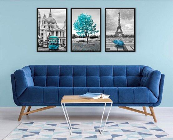 Kit 3 Quadros Árvore Azul Paris Torre Eiffel Londres
