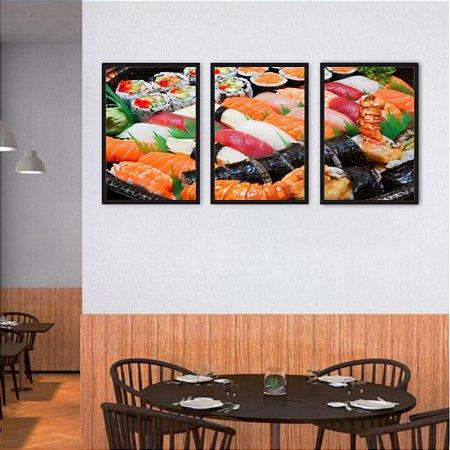 Kit 3 Quadros Sushi Camarão Lagosta Cubinhos