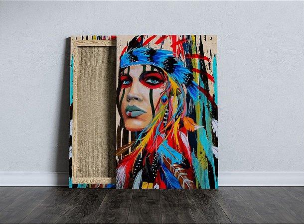 Quadro Índia Tecido Canvas Tela Índia Color Alta 02 40x60 Cm