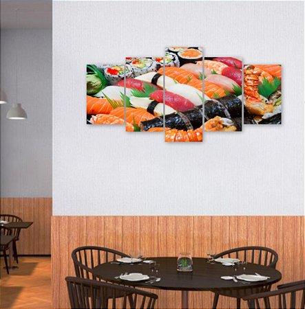 Quadro 5 Peças Sushi Camarão Lagosta Cubinhos 129x64cm