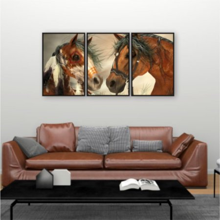 3 Quadros Cavalos Pura Raça Mangalarga Marchado