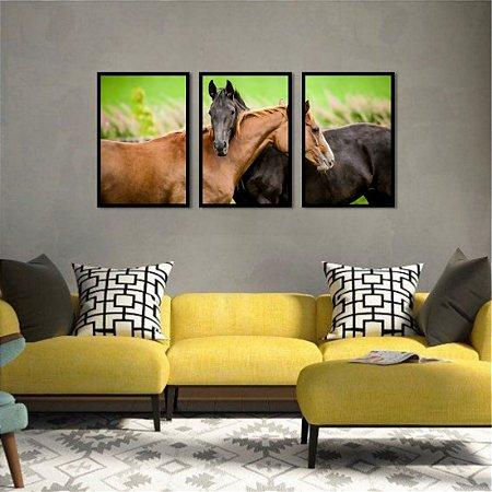 Kit 3 Quadros Mosaico Cavalos Égua Fazenda Aras