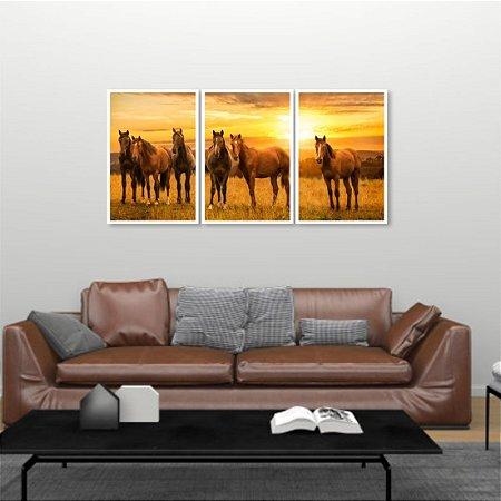 Kit 3 Quadros Mosaico Cavalos Por do Sol Fazenda Aras