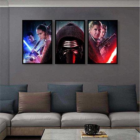 Kit 3 Quadros Star Wars Filme Darth Vader Kylo Ren