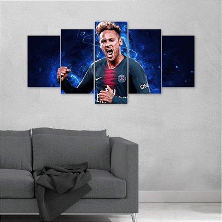 Quadro 5 peças Neymar Jr Paris Saint-Germain Menino Ney