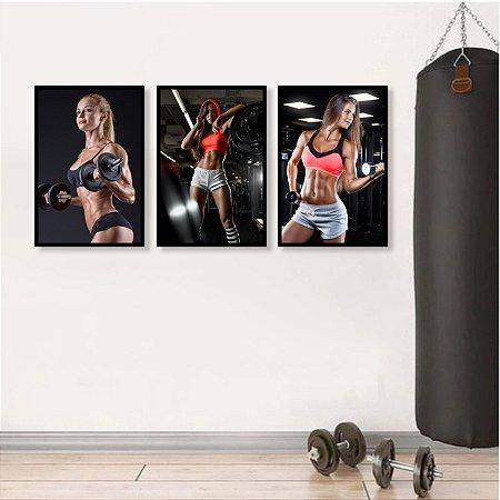 Kit 3 Quadros Academia Fitness Mulheres Malhação