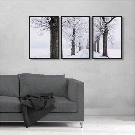 Kit 3 Quadros Árvores Inverno Galhos Preto Branco Neve