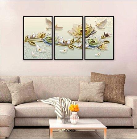 Kit 3 Quadros Decorativos Flores Rosas Aspecto 3D