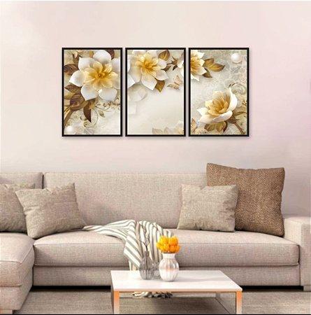 Kit 3 Quadros Decorativos Flores Rosas Aspecto 3D 02