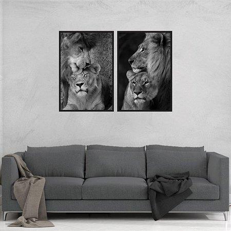 kit 2 Quadros Leão e leoa Animais Selva Amor Carinho
