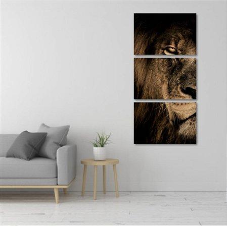 Kit 3 Placas Mosaico Leão Africano